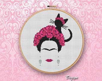 Cross Stitch Pattern Frida Modern Embroidery Halloween Pattern Counted Cross Stitch Feminist Modern Art Mexican Download PDF