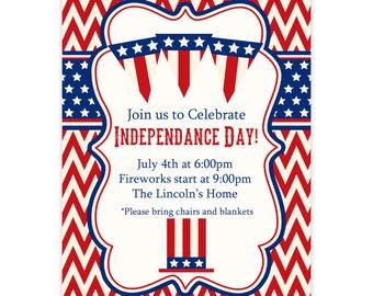 July 4th or Memorial Day Invitation - Red Chevron, Blue Stars, Retro 4th of July Picnic Personalized Party Invite - a Digital Printable File
