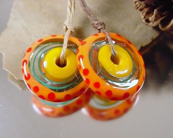 Handmade lampwork, glass bead pair, Artisan glass beads, lampwork beads, blue beads, orange beads, red beads, disc beads, earring pair, SRA