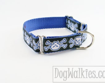 """Silver Skulls and Bones Dog Collar - 1"""" (25mm) Wide - Choice of collar style and size - Quick Release or Martingale Dog Collar"""