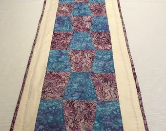 Quilted Table Runner, Quilted Runner, Purple Table Runner, Quilted Reversible Runner, Batik Table Runner, Blue Table Runner, OOAK Runner