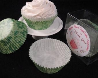 Green Damask2 Cupcake Liners