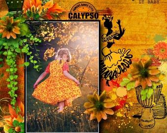 "Digital Scrapbook Kit ""CALYPSO MIX"" Flowers, Music, Dancing,bright colors, Scrapbooking Embellishments and Backgrounds"