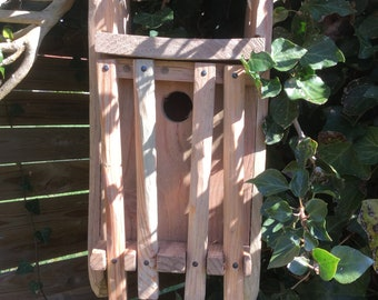 Bird house Nestbox rustic handmade wooden hanging box