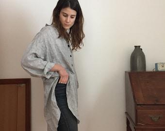 100% linen oversized button up shirt