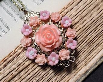 Vintage Inspired Pink Rose Pendant