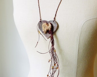 Woven Tapestry As Seen in Belle Armoire Jewelry Magazine. Burgundy and Tan, Mustard Yellow, Chocolate Brown Heart Shape, Fiber Art Necklace