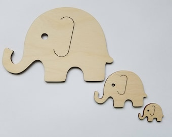 Set of 3 Wooden Elephant Cut Outs ( Nursery Wall Decor, Embellishments, Baby Shower Gift )
