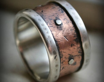 mens industrial wedding ring, rustic fine silver and 14K rose gold ring with silver rivets, oxidized, handmade mens ring, industrial ring