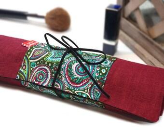Trousse à rouler pinceaux, range pinceaux tissu ethnique, étui pinceaux, Trousse vintage à rouler lanière, lin bordeaux, fête des mères