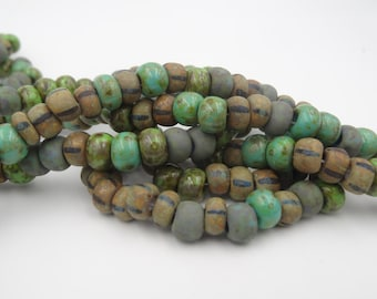 Aged 34/0 Jade Striped Picasso Czech Glass Seed Bead Mix  3 Strands