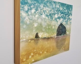 SUNSHOWER STROLL, limited edition 11x14 print on panel, ready to hang, Haystack Rock, Oregon Coast