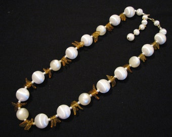 Vintage White Satin and Cream Lucite Beaded Yellow Leaf Necklace