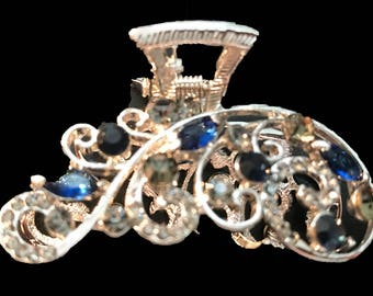 New Silver Swirl With Clear & Sapphire Crystal 1 1/2 '' Hair Claw Clip