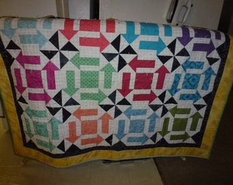 "Vintage Handmade Patchwork Throw 50"" by 40"""