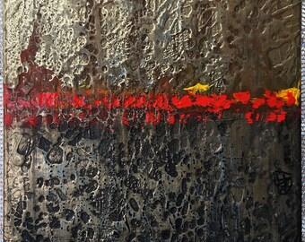 Golden Sunset Original Painting By Artist Rafi Perez Mixed Medium on Canvas 41X37
