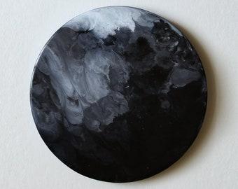"""Abstrakte Epoxy-Malerei auf Holz """"Mond"""", Harz, Holz, Wand-Dekor, moderne Kunst, minimal, schwarz und weiß, Raum, Universum"""