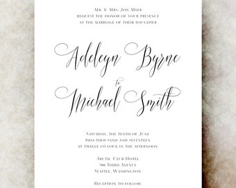 Black and White Wedding Invitation printable - elegant wedding invitation, calligraphy wedding invitation, save the date, romantic wedding