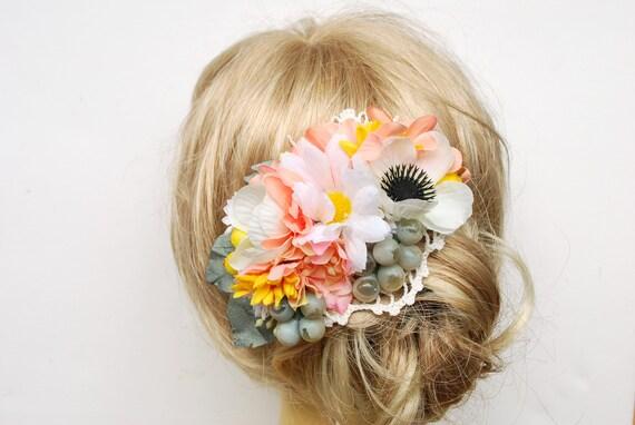 White Anemone Bridal Flower Hair Comb White Yellow Peach Sage