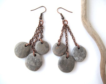 Beach Stone Earrings Mediterranean Natural Rock Jewelry Beach Pebble Earrings River Stone Jewelry Sea Stone Rock Copper Earrings GREY DROPS