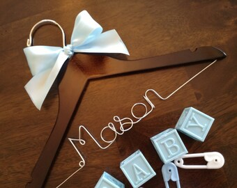 SALE BABY HANGER, personalized wire name hanger, baby shower gift, mom to be gift, baby room