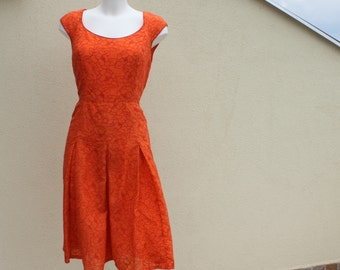 Burnt orange dress fully Embroidered lined box pleat scooped neck Bob Mackie spring fashion bust 38 US 10