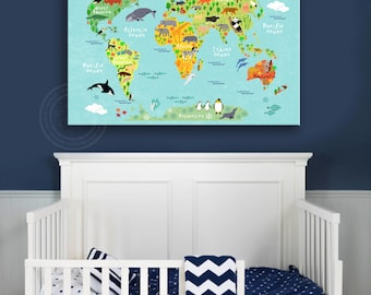CHILDREN WORLD MAP, Children Room Decor, Children Room Canvas, World Map Print, World Map Canvas, Paper Print Map, Map Poster, Map Canvas