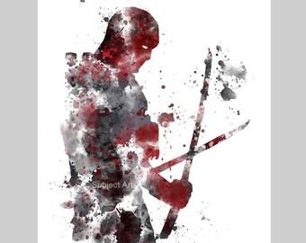 Deadpool inspired ART PRINT illustration, Superhero, Home Decor, Wall Art, Gift