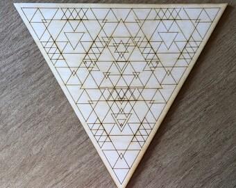 Triangle Crystal Grid - Three - Trinity - 3, 6, 9, or 12 Inches - Wooden Crystal Grid - Sacred Geometry - Wood Crystal Grid