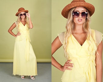 60s Yellow Chiffon Yellow Vintage Delicate Romantic Bow Maxi Dress