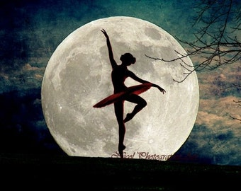 Ballet photography Dancing in the Moonlight Ballerina Matted Picture Art Print A614 Black red blue white teal green