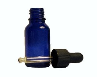 6 pack; 15 ml (1/2 oz) empty cobalt blue glass bottle with glass dropper cap