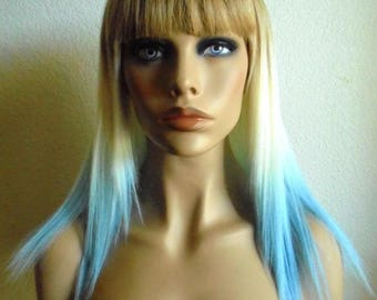 Free Shipping - Classic Wig - High Quality Synthetic Hair - Long Bob w/ Bangs - Multi Colored Wig - Comfortable Fit - Chic - Fashion