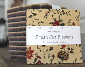 "Fresh Cut Flowers by Kansas Troubles for Moda Charm Pack 5"" Squares"