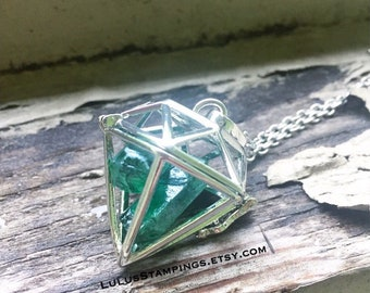 Green Crystal Hero Fandom Necklace, Cosplay Jewelry