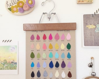 Felt Color Swatch, Raindrop Felt Color Chart by Catshy Crafts, 3D Wall Art, Kraft Paper, Rainbow Colorful