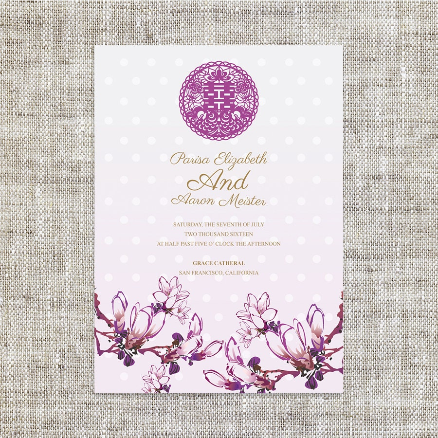 DIY Printable Chinese Wedding Invitation Card Template Instant