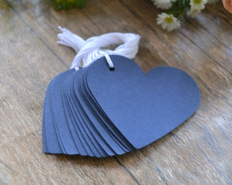 navy blue heart tags with string, navy wedding favor tags, blue heart favor tags, navy blue heart price tags, blue heart gift tags- 15 tags