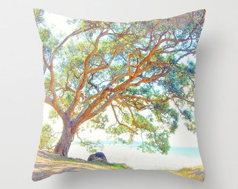 Summer time tree pillow, home decor pillow, tree photo cushion, nature photo pillow, soft furnishing art, green bedroom, living room decor