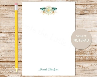 personalized notepad . whisy flowers . floral note pad . womens stationery . personalized stationary