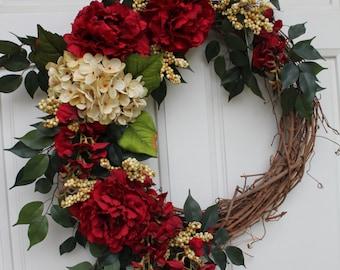 Large Red Peonies Golden Cream Hydrangea Red Freesia Golden Berries Grapevine Wreath