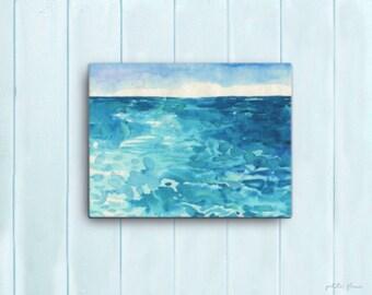 Watercolor Ocean Painting Abstract Canvas Print - Aqua Teal Blue Sea Coastal Beach Giclee Art Print - 8x10/11x14/12x16/16x20 - La Marina