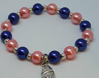 "Ice Cream Bracelet, 7"" Bracelet, Beaded Bracelet, Faux Pearls, Beaded Jewelry, Stretch Bracelet, Daughter Gift, BFF Birthday, Navy & Pink"