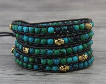 Skull wrap bracelet Green bead bracelet skull leather bracelet skull bead bracelet Boho bead wrap bracelet Leather wrap bracelet SL-0471