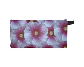 Purple Floral Pouch, Printed Pencil Case, Stocking Stuffer, Zipper Coin Purse, Small Makeup Cosmetic Phone Jewelry Bag, Flower, Gift for Her