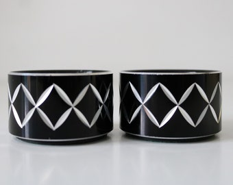 1970s pair of Conrah candlesticks candle holders black and silver