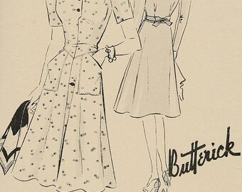 ON SALE 1940s Day Dress/ Frock with Large Pockets Butterick 9204 Vintage Sewing Pattern Size 14 Bust 32