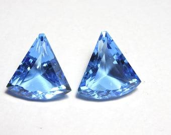 2 Pcs Very Beautiful Tanzanite Blue Quartz Faceted Fancy Shaped Loose Gemstone Size 18X18 MM