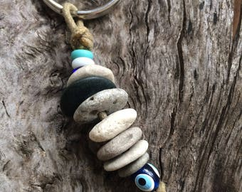WHEELIES TO GO... cairn stacked keychain-lucky seven- organic earth rocks- pebbles- key holder-gift