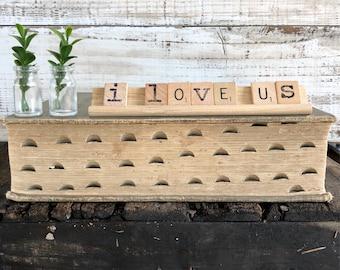 Vintage Scrabble Wood Rack Sign I LOVE US